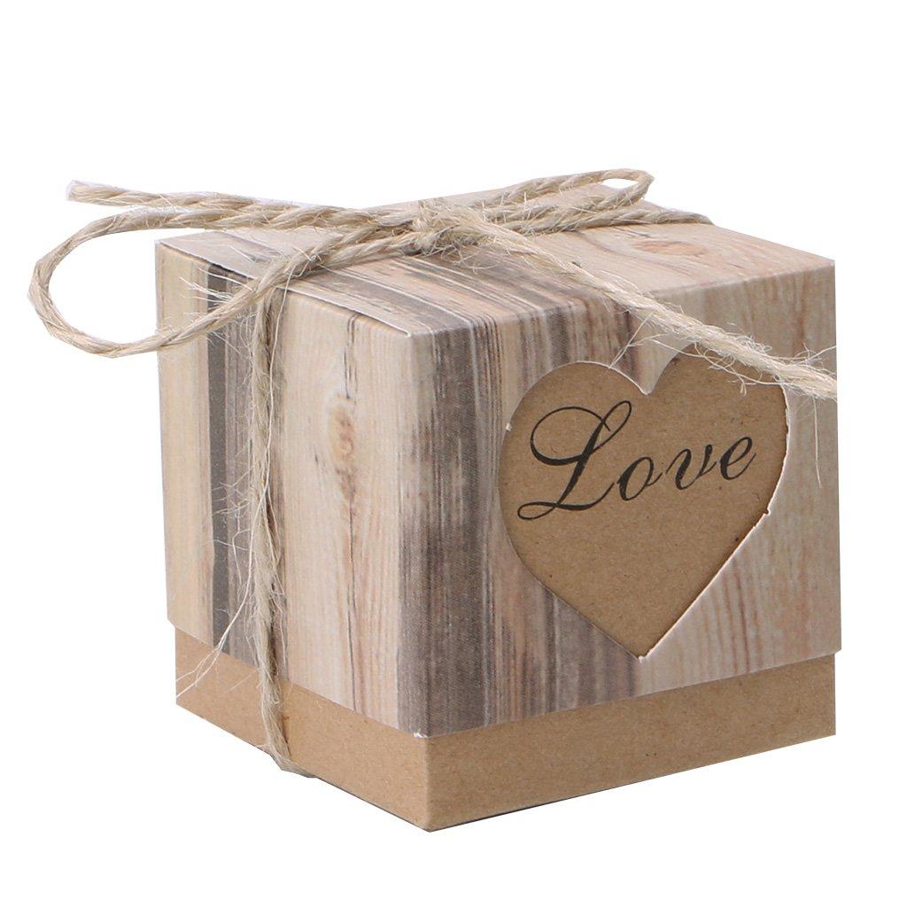cuigu 50pezzi Praline scatola, carta quadrato a forma di cuore tagliare scatola regalo con fiocco Decor per Matrimonio