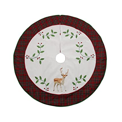 valery madelyn 48 trendy red tartan plaid christmas tree skirt themed with christmas ornaments - Plaid Christmas Ornaments