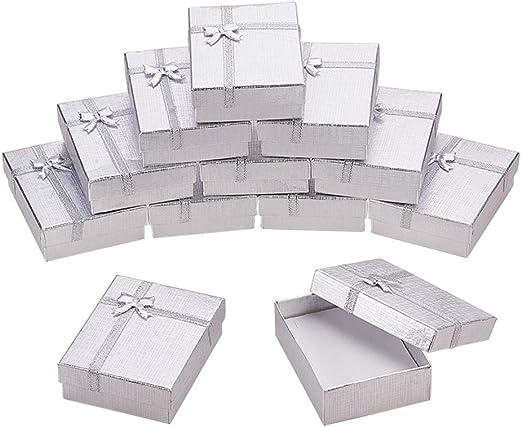 BENECREAT 12 Pack Caja de Regalo Caja de Presentacion de Joyas para Collar Pendientes Aretes de Aniversarios, Bodas, Cumpleaños Plateado - 9x7x3cm: Amazon.es: Hogar