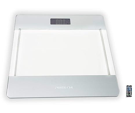 Pritech - Báscula de Baño Digital de Alta Precisión de Vidrio Transparente con Iluminación LCD, Indicador de Temperatura Y Apagado Automático ...