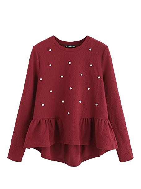 ab3ff984dfc188 SheIn Women s Loose Round Neck Raglan Long Sleeve Ruffle High Low Hem Smock  Top Beaded Red