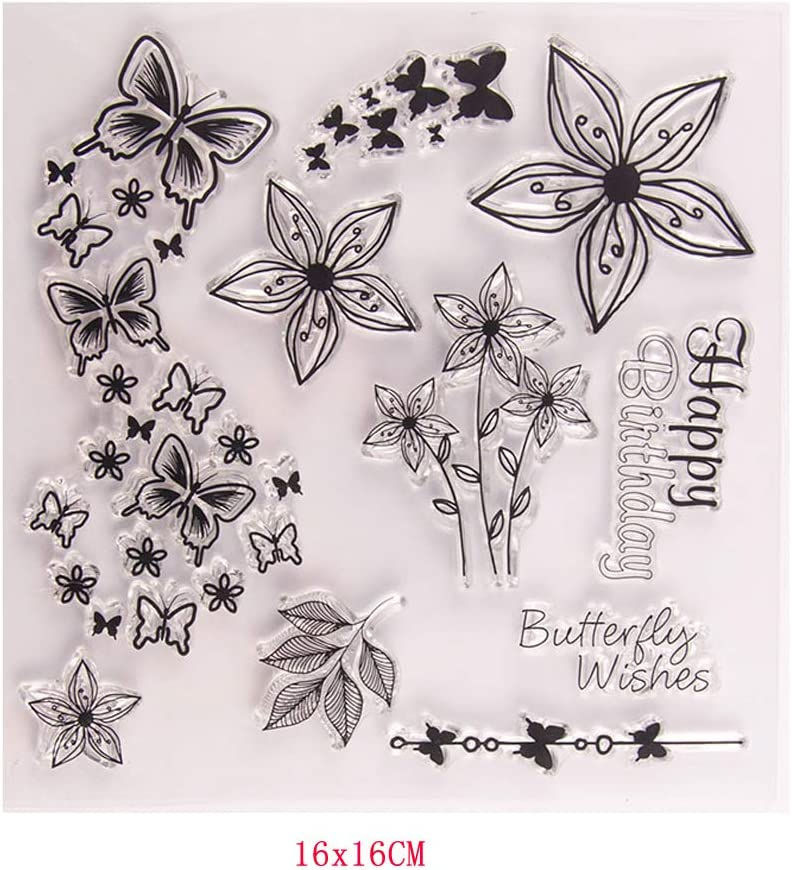 Mmnas Silikonstempel Set , Schmetterling Und Blume Silikon Klare Stempel Siegel DIY Scrapbook Embossing Album Decor