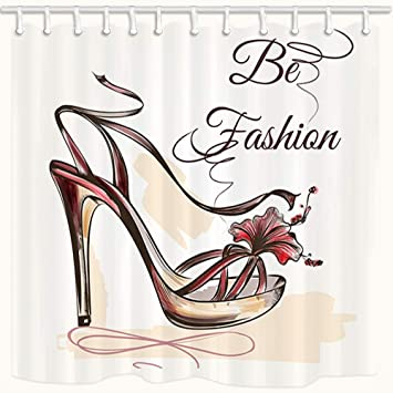 Image Unavailable Not Available For Color Niomhdos Women Shoes Shower Curtain Fashion High Heels