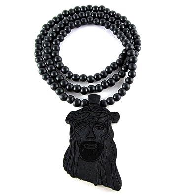 Amazoncom Hip Hop Jewels Large Wooden Jesus Face Piece Pendant
