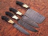 GladiatorsGuild Handmade Beautiful Damascus Steel 4 Pcs Kitchen Chef Knife Set Bone & Horn Handle