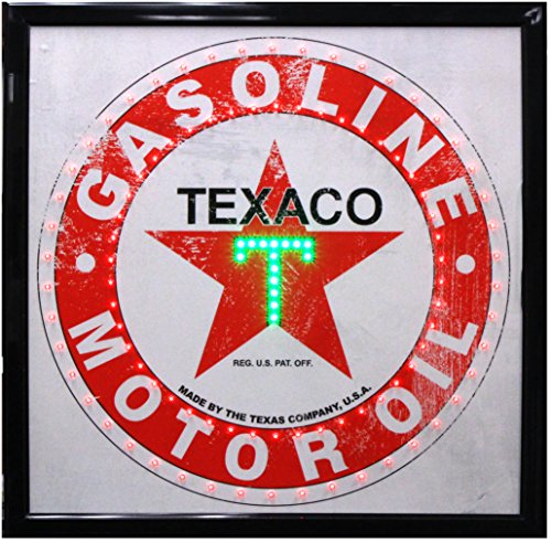 Crystal Art - Vintage Texaco Gasoline Motor Oil Marquee LED (Gas Station Sign)
