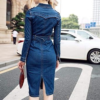 Gofodn Kleider für Frauen UK Übergröße Langarm Casual Solid Fashion Sexy Slim Fit Button Hip Cowboy Kleid: Odzież