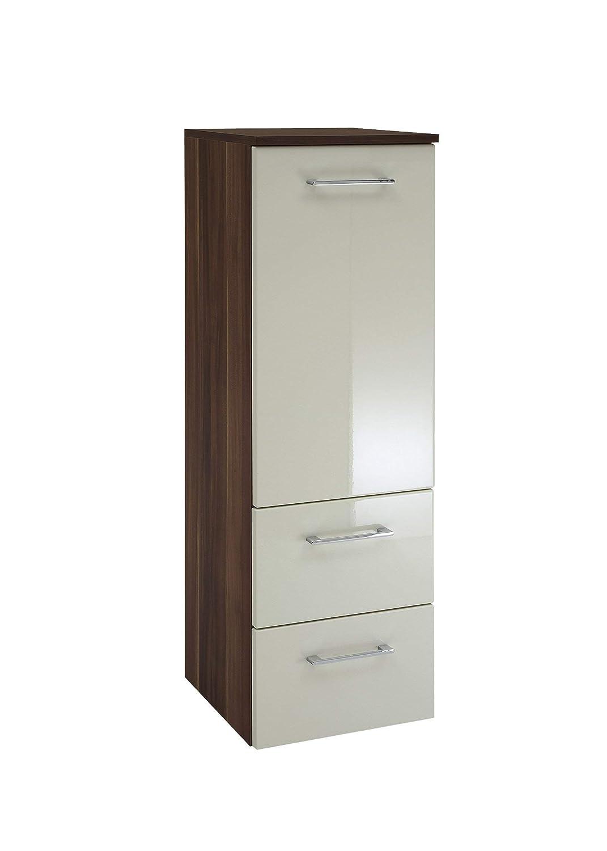Held Möbel 220.3055 Pisa Midischrank 1-türig, 2 Auzüge, 2 Einlegeböden, 35x114x35 cm, hochglanz-creme   nussbaumfarben
