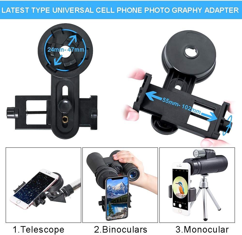 Garten Monokulares Teleskop 40x60 HD BAK4 Prisma Wasserdichtes FMC Objektiv mit mobilem Adapter f/ür Camping Vogelbeobachtung Reisen Natur