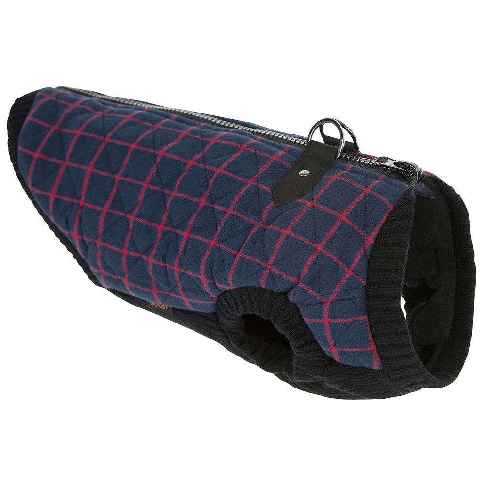 Navy Check Medium chest (11.5\ Navy Check Medium chest (11.5\ Gooby 75002C-NVY-M Fashion Check Quilted Bomber Dog Vest Stretchable Chest, Navy Check, Medium