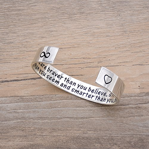 Melix You Are Braver Than You Believe Bracelet , Graduation Gift – Best Friend Gift – Encouragement Gift – Inspirational Gift
