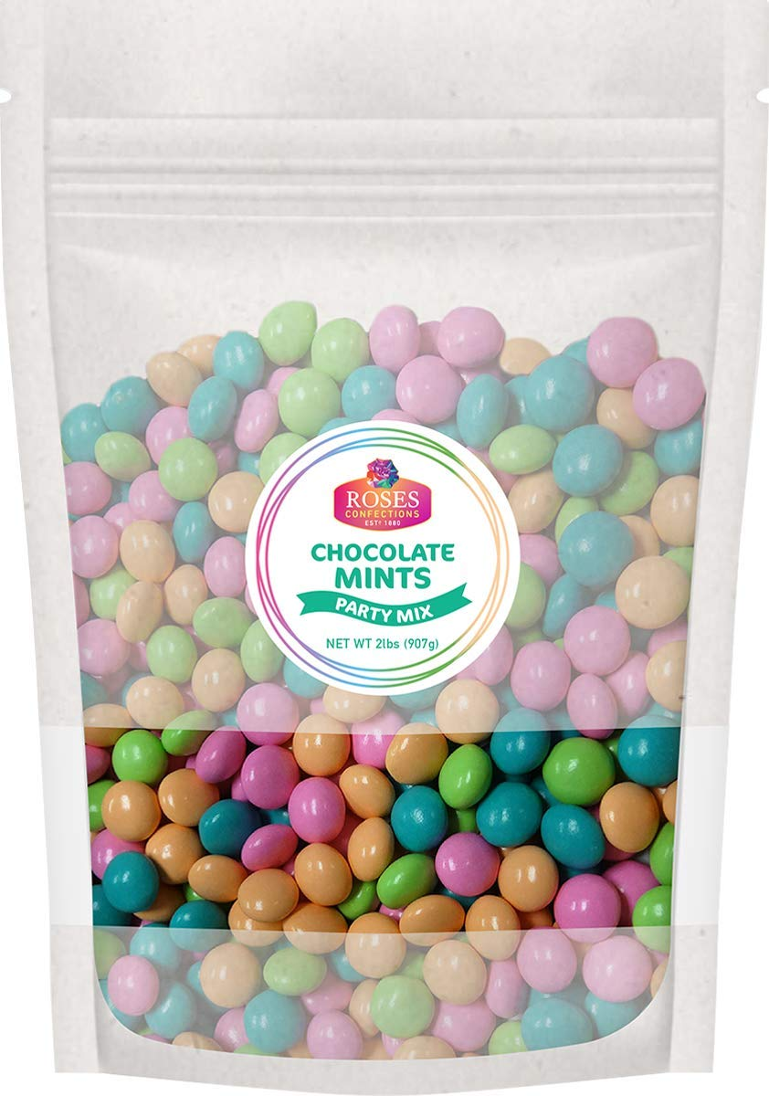 Roses Brand: Gourmet Chocolate Mints - 1 , 2lb Bag - Bulk, Resealable Bag - Halal and Kosher - Great Party Celebration Candy for Easter, Weddings or Baby Showers