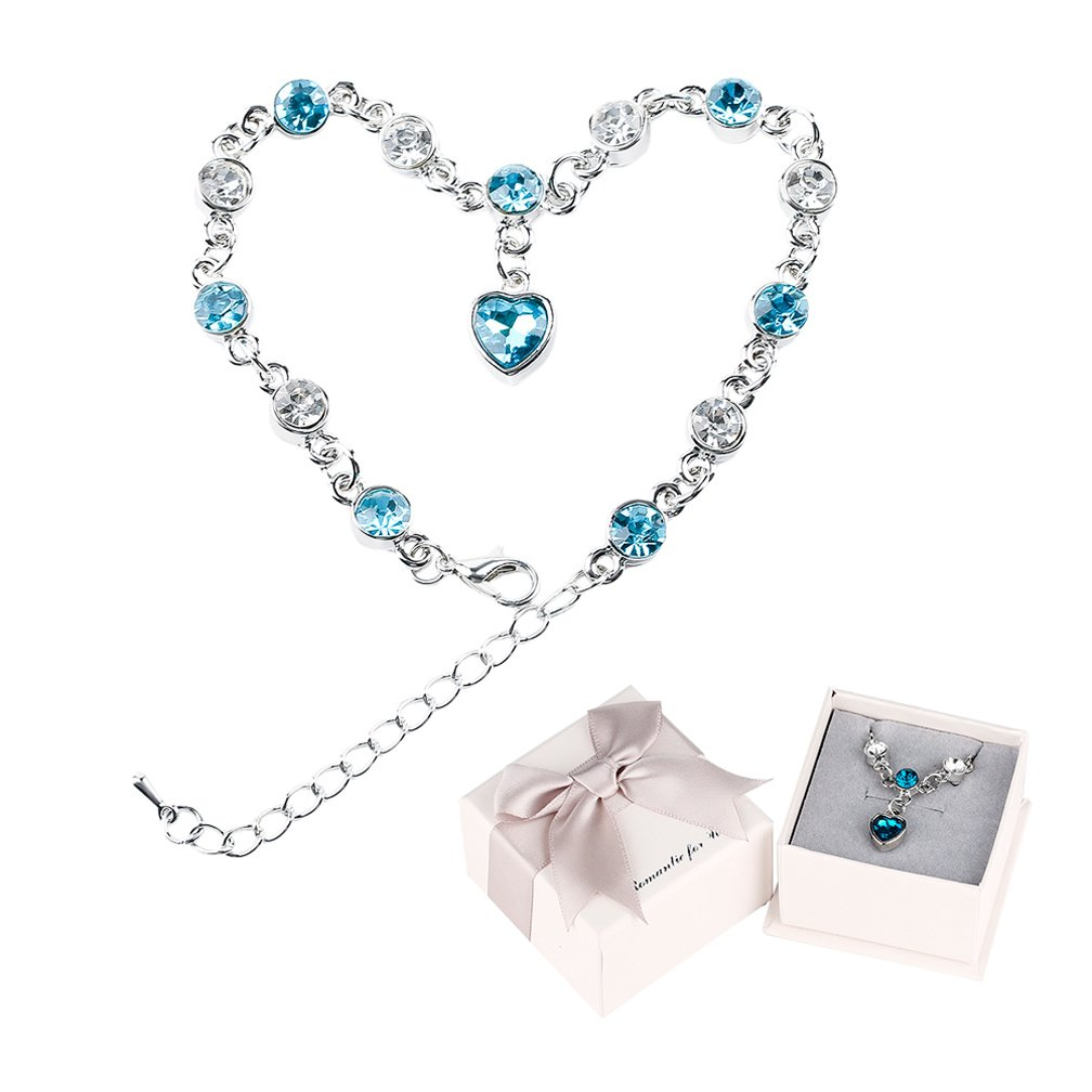 BaiJian Creative Women Love Heart Ocean Blue Charm Bracelet Adjustable Hand Chain Lucky Eternal Love Bangle Jewelry