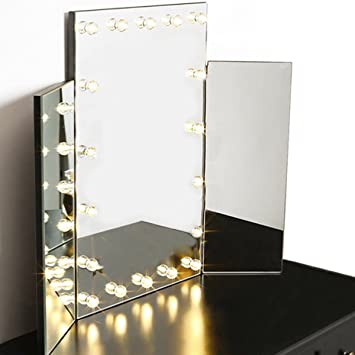 warmiehomy hollywood makeup mirror with 18pcs led lights tri fold