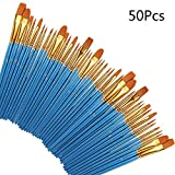 Paint Brush Set, 50 Pieces Kids Paint Brushes Artist Round Pointed Tip Nylon Hair Brush Professional for Acrylic, Oil, Watercolor and Face Painting DIY Art Crafts
