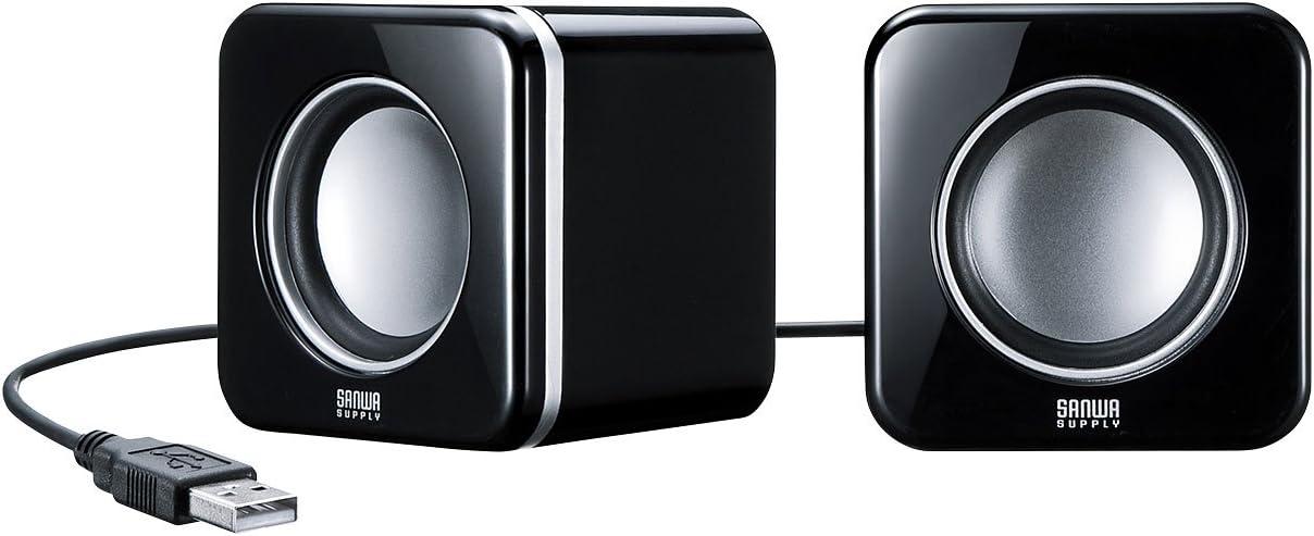 サンワサプライ コンパクトPCスピーカー USB接続 ブラック MM-SPU8BK
