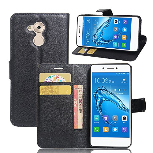 TOTOOSE Huawei Nova Smart Leather Wallet Case with Cover Huawei Nova Smart Flip Cover, Cover, Surface Case (Black)
