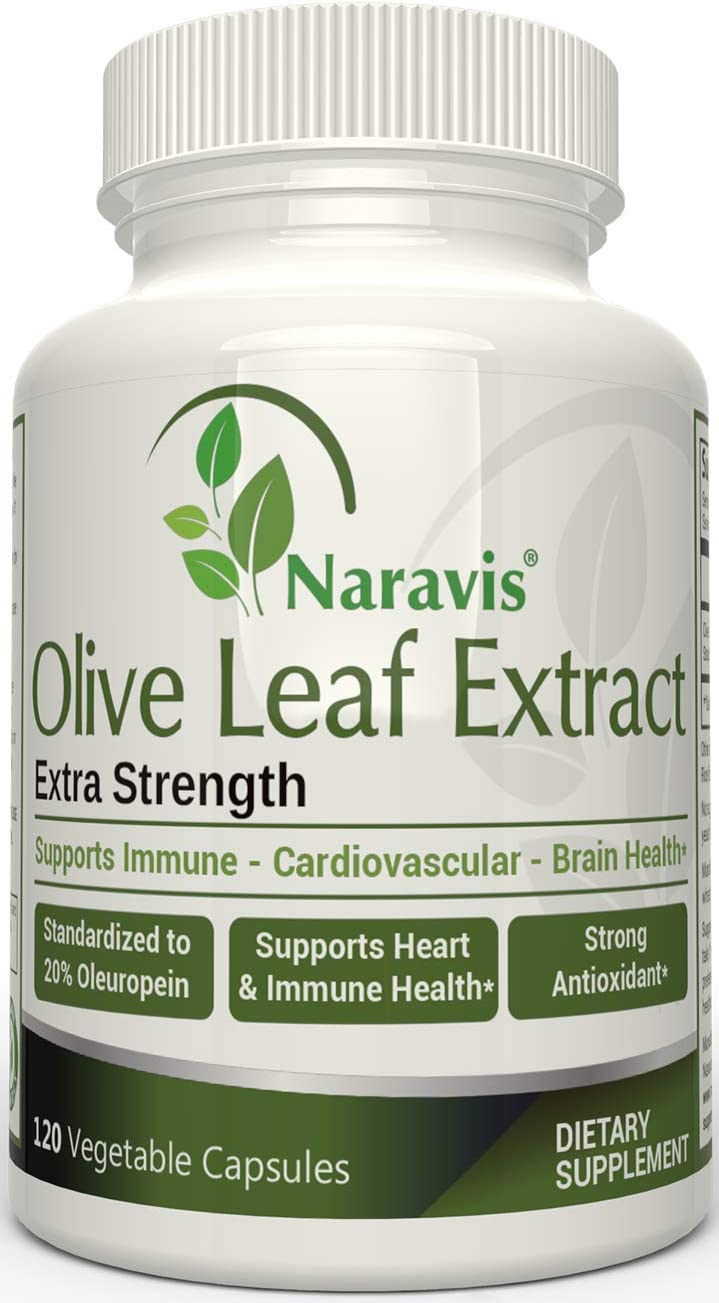 Naravis Olive Leaf Extract – 750mg – 120 Veggie Capsules – 20 Oleuropein – Non-GMO – Immune Support – Cardiovascular Health – Antioxidant Supplement