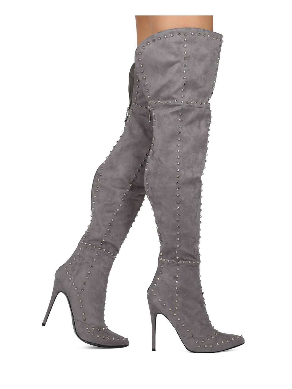 Alrisco Women Faux Suede Thigh High Pointy Toe Studded Stiletto Boot HE63 - Grey Faux Suede (Size: 8.0)