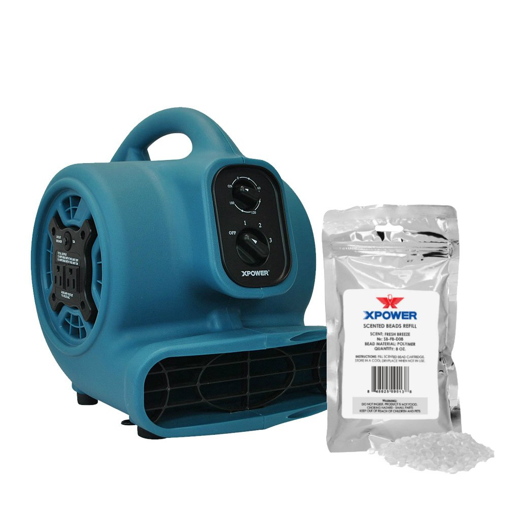 XPOWER P-250AT Freshen Aire Scented Air Mover with Daisy Chain, Timer & Freshener Beads Refill (Fresh Breeze, 8 oz) by XPOWER