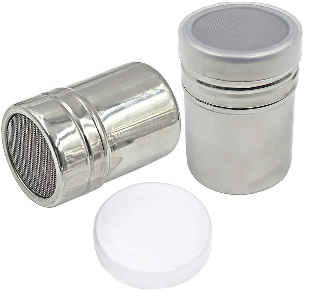 Vonty 2pcs Stainless Steel Powder Sugar Shaker with Lid Fine Mesh Shaker Icing Sugar Cocoa Flour Coffer Sifter Seasoning Can Cooking Tools