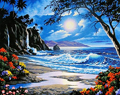 ABEUTY DIY Paint by Numbers for Adults Beginner - Seaside Night Wave Trees Flower 16x20 inches Number Painting Anti Stress Toys