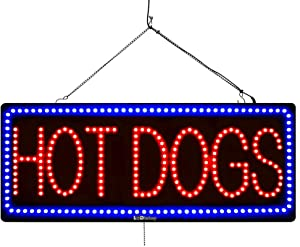'HOT Dogs' LED Window Business Sign - Extra Bright LEDs, Can Be Seen Through Tinted Windows, Extra Large 32in (#3062)
