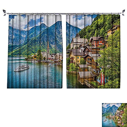 (DESPKON Active Printing Fabric Polyester Material Famous Hallstatt Mountain Village with Lake in The Austrian Alps Countryside Tour for Cartoon Children's Room W63 x L63)