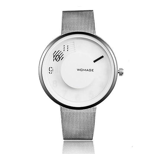 Aleación Cinturón de Malla Mirar Alto Grado Esfera Grande Mujer Cupo Mirar Reloj Pulsera Redondo Puntero Blanco Plateado: Amazon.es: Relojes