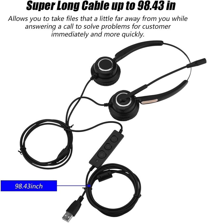 Lossless Sound Call Center Headphones with Super Long Cable and 180/° Rotary Earmuffs for Computer Telephone Desktop Box Mugast USB Call Center Headset with Noise Cancelling Microphone