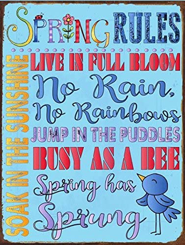 Rustic D/éCor 12x16 Inch Tin Sign Country Home Spring Sun Protected Garden Rules Metal Sign