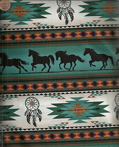 (Tucson turquoise southwestern horse dreamcatcher stripe fabric)