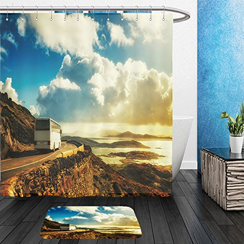 Vanfan Bathroom 2 Suits 1 Shower Curtains &  1 Floor Mats tourist white bus on mountain road ring of kerry ireland travel destination 422832937 From Bath room (Wigs Halloween Ireland)