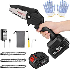 ABEDOE Mini Chainsaw Cordless Set 4-Inch 3000mAh 24V Electric Rechargeable Protable Chainsaw with a Safety Splash Guard & Safety Switch Button for Courtyard Tree Branch Wood Cutting(Black)