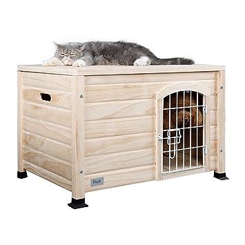 Casetas para perros Caseta para Mascotas Caseta para Gatos Jaula para Perros De Interior De Madera Maciza Jardín Al Aire Libre Jaula para Gatos Carga 10 Kg ...
