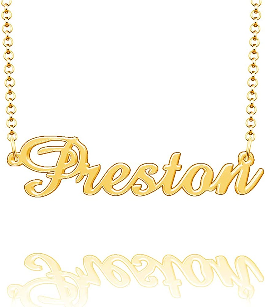 LoEnMe Jewelry Customized Preston Name Necklace Stainless Steel Plated Custom Made of Last Name Gift for Family