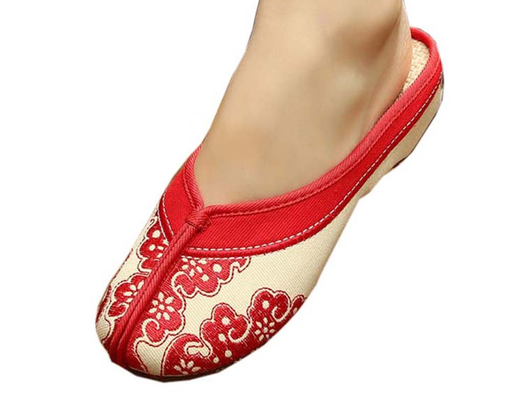 Womens Embroidered Summer Slippers Wedges Sandals Shoes for Cheongsam, 22