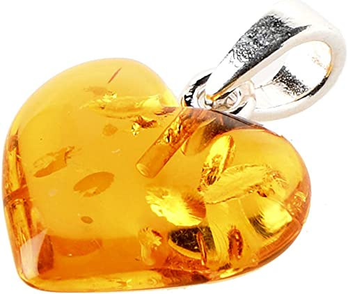 Sterling Silver Amber Apple Pendant Necklace Chain 18 Inches