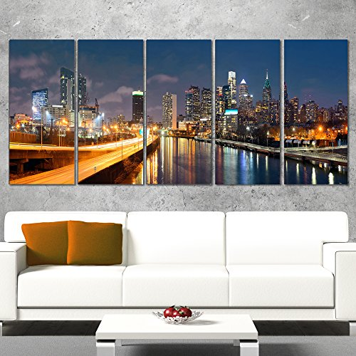 Designart Philadelphia Skyline at Night-Cityscape Canvas print-48x28 4 Piece-PT10072-271, 28'' H x 48'' W x 1'' D 4P 1' Framed Art Print