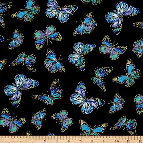 Japanese Wrapping Cloth 35'', Furoshiki Bag - Enchanted Butterflies, Metallic
