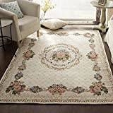 European Floral Area Rugs - MeMoreCool Beautiful Pattern Pure Color Background Anti-slipping Bottom Design Eco-friendly Material Home Carpets 79 X 114 Inch
