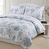 3 Piece King, Unique Style Coastal Pattern Quilt Set, Traditional Gorgeous Nautical Design, Beautiful Eye-Catching Ocean Novelty Themed, Cohesive Reversible Bedding, Adorable Aqua, Grey, White Color
