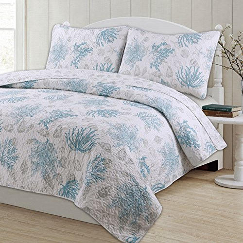 3 Piece King, Unique Style Coastal Pattern Quilt Set, Traditional Gorgeous Nautical Design, Beautiful Eye-Catching Ocean Novelty Themed, Cohesive Reversible Bedding, Adorable Aqua, Grey, White Color by AF ULTRA