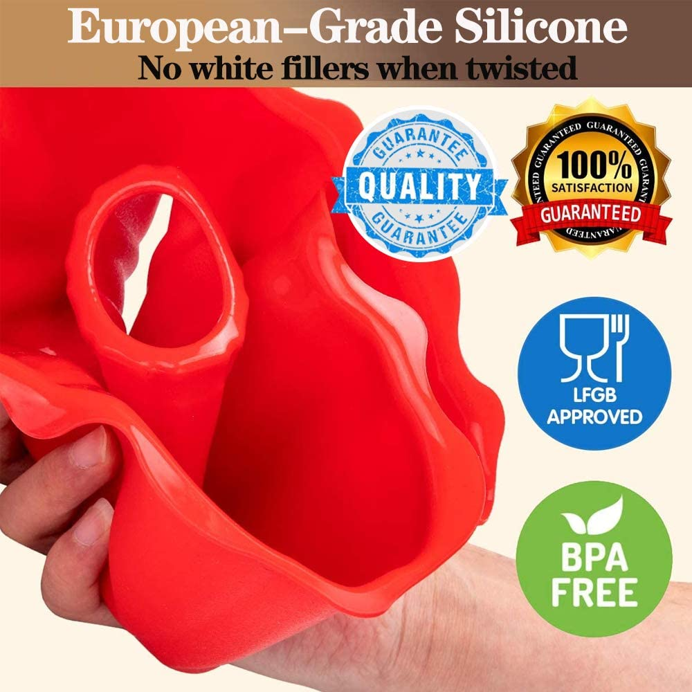 Aokinle Silicone Portion Cake Molds-10 Triangle Cavity,Nonstick Cake Pan for Baking,Large Bakeware,Soap Mould Pizza Pan,Round,Red