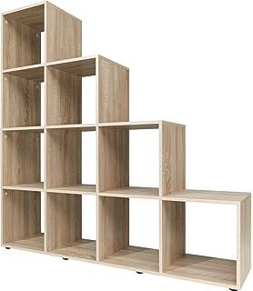 Deuba Step Bookcase Storage Shelves Unit White Oak 3 4 Stairs