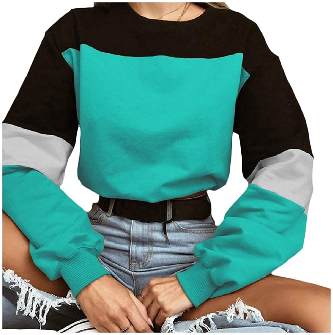 YUNY Womens Patched Round Collar Tops Pullover Hit Color Autumn Sweatshirts Green S