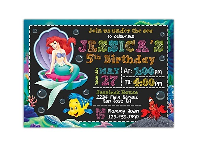 Amazon Com Little Mermaid Birthday Party Invitations Any Age Custom