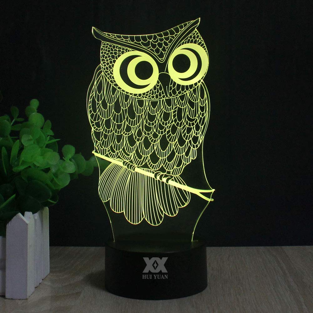 Night Light for Kids Owl Toy 7 Colors Change with Baby Table Lamp Birthday Gift 3D Illusion Lamp Optical Effect Lights Gift Idea for Girls and boys Home Decor