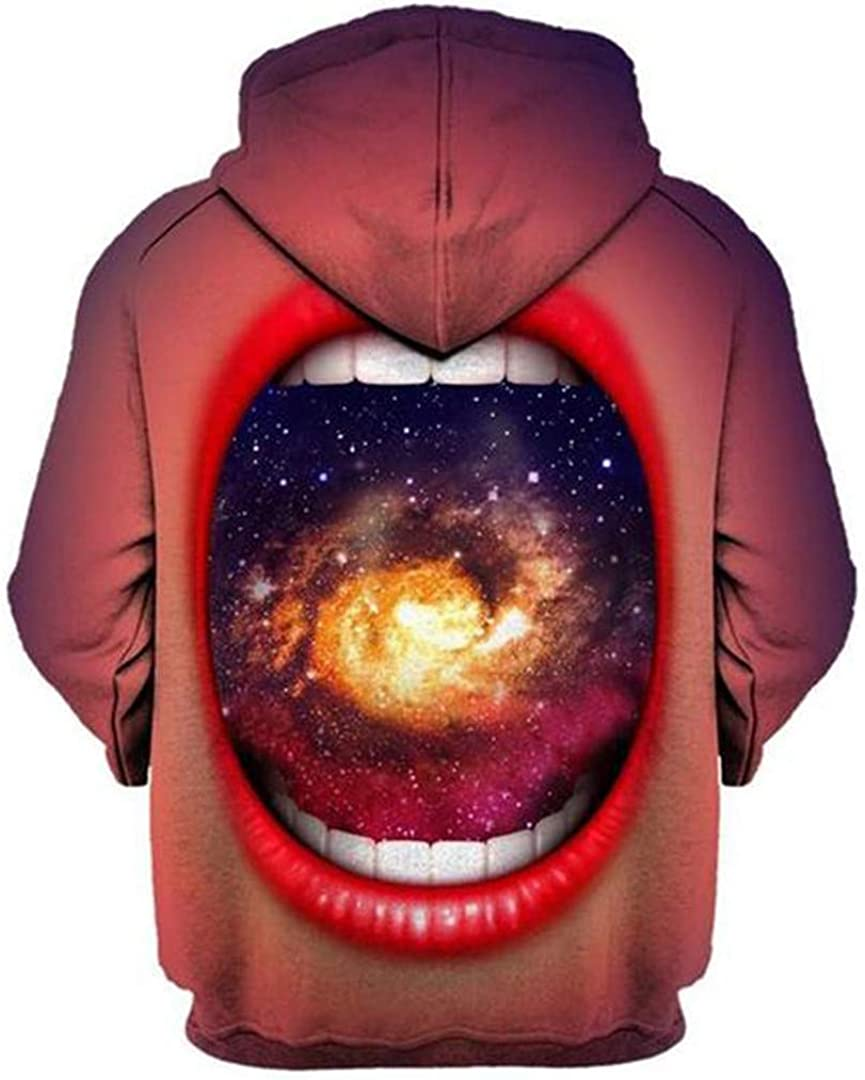 3D Print Galaxy Space of Mouth Sweatshirt Hoodie Regular Thin Pullovers