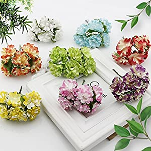 Bertfher 6 Pcs Gift Box Scrapbooking Mini Carnation Paper Artificial Flowers Bouquet for Wedding Decoration DIY Wreath Craft Fake Flower 98